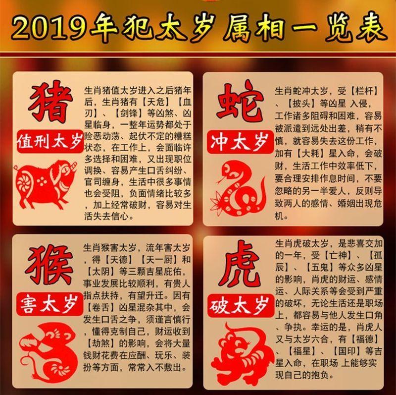 2019己亥猪年犯太岁的四大生肖属相一览表及化解方法图片